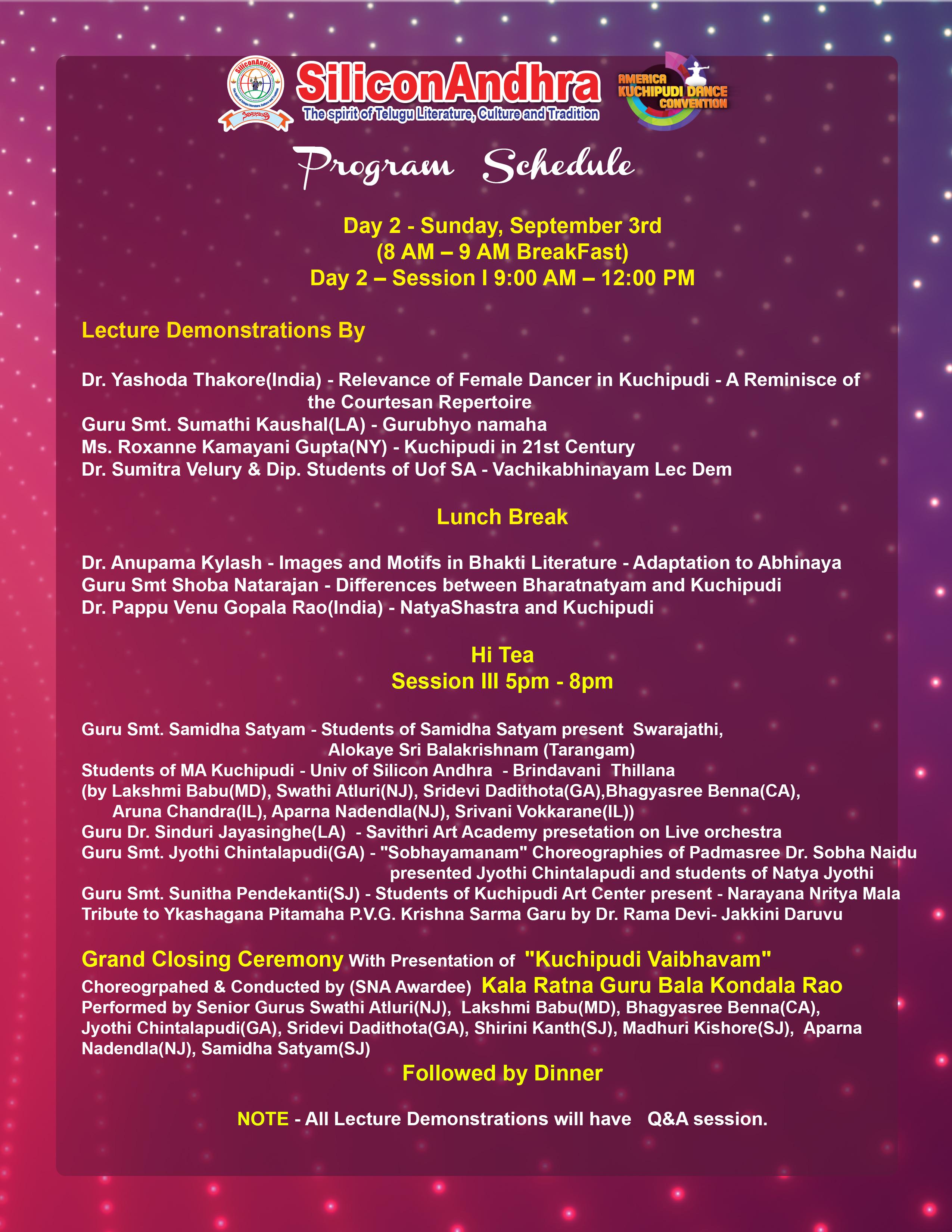 program sheet day 2